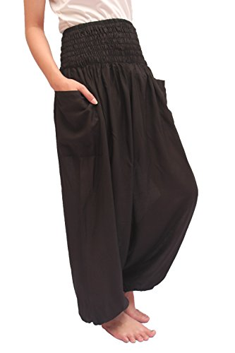 (ChiangmaiThaiShop Harem Pant Yoga Bohos Extra Size for Men & Women Elastic Waist Smocks Rayon (Black, Large))