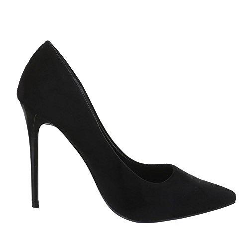 Ital-Design Damen Schuhe, 5015-61, Pumps High Heels Klassische Plateau Stiletto Schwarz