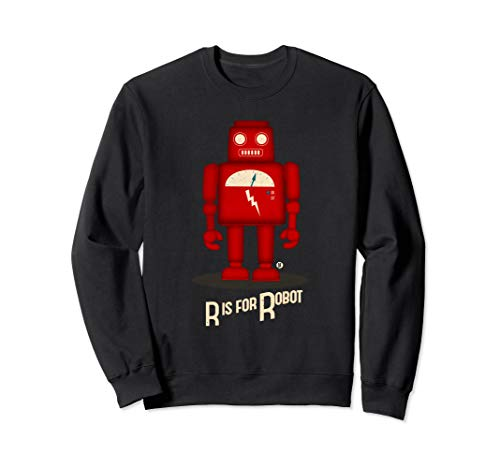 R Is For Robot Robot - Cute Retro Vintage Toy Robot Sweatshirt (Cartoon Robot Made Of Smaller Lion Robots)