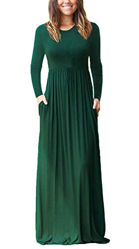 4 Dresses with Long Sleeve Casual Loose Long Women's Pockets Green Plain long Dark HAOMEILI Maxi Sleeve qPCawT