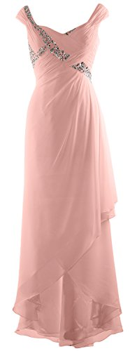 MACloth Elegant V Neck High Low Mother of Bride Dress Maxi Chiffon Formal Gown Bellini