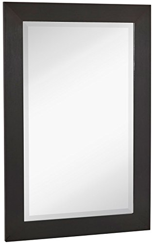 NEW Black Modern Metallic Look Rectangle Wall Mirror Brushed Metal Appearance Contemporary Simple Design Beveled Glass Vanity, Bedroom, or Bathroom Hanging Horizontal or Vertical Made in USA