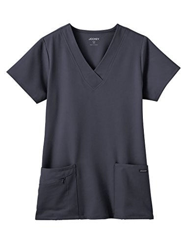 Classic Fit Collection by Jockey Women's Tri Blend Solid Scrub Top Small Charcoal