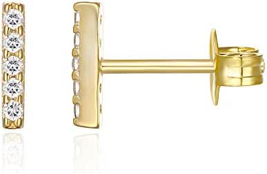 PAVOI 14K Gold Plated CZ Simulated Diamond Earrings Dainty Mini Bar, Halo, Lightning Bolt, Moon Stud Earrings