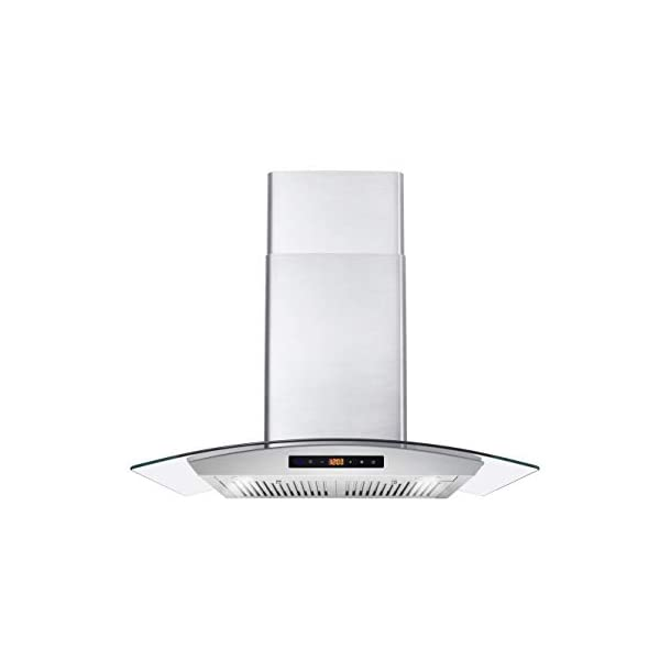 Cosmo Wall Mount Range Hood with Soft Touch Controls, LED Lighting and Permanent...