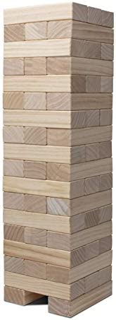 Giant Toppling Tower, Pine Wooden Topple Game Classic Block Stacking for Kids Adults Family,54 PCS
