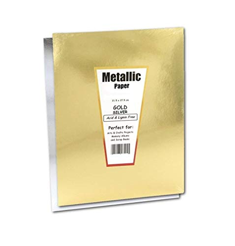 Hygloss Products Metallic Foil Paper Sheets – 10 x 13 Inch, 10 Sheets – Gold and Silver -