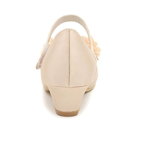 Champagne Outdoor Fall Winter Satin Heel Girls' Summer Heels Spring Low L White Flower YC Casual g6Hqaa