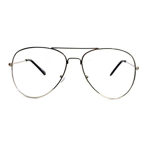 VINTAGE Aviator Retro Metal Square Frame Clear Lens Eye Glasses - Men Frames Aviator For Eyeglass