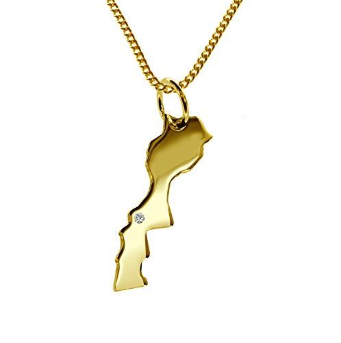 Endroit Exclusif le Maroc Carte Pendentif avec brillant à votre Désir (Position au choix.)-avec Chaîne-massif Or jaune de 585or, artisanat Allemande-585de bijoux