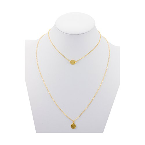 Boosic Disk Initial Choker Coin Chain Necklace Gold - Coin Initial Necklace