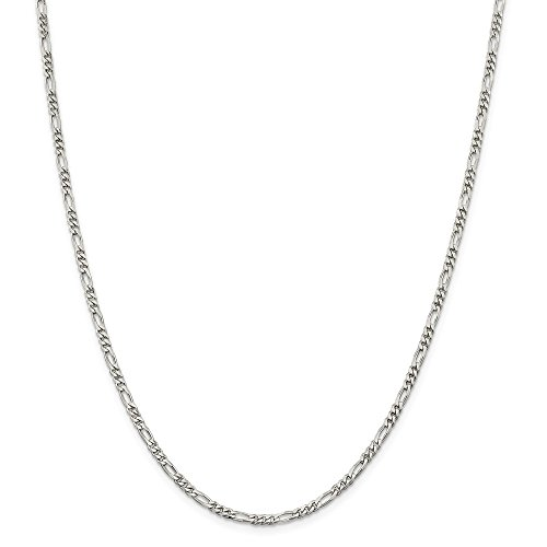 925 Sterling Silver 2.85mm Link Figaro Chain Necklace 18 Inch Pendant Charm Fine Jewelry Gifts For Women For Her