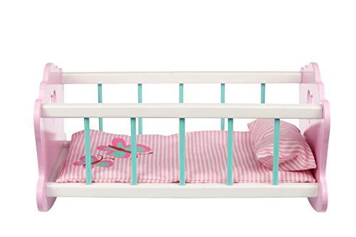 Toysters AT250 cuna mecedora de madera para muñeca de bebé, incluye accesorios, colchón y almohada a juego, cama rosa...