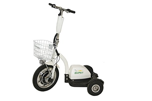 GoPET PET PLUS 3 E Electric Scooter, ADA Compliant, No Seat, 350W Motor, 48V, 350 lb. Standing Capacity, 400 lb. Towing Capacity, 27'' x 44'' x 47'', White