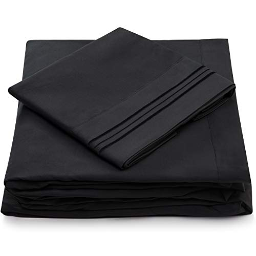 Ebony Bed Set - Cosy House Collection California King Bed Sheets - Black Luxury Sheet Set - Deep Pocket - Super Soft Hotel Bedding - Cool & Wrinkle Free - 1 Fitted, 1 Flat, 2 Pillow Cases - Cal King Sheets - 4 Piece