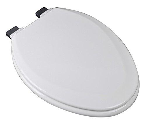 Bath Décor 1F1E7-00CH Premium Molded Wood Elongated Toilet Seat with Slow Close Metal Chrome Hinge & OSG, White