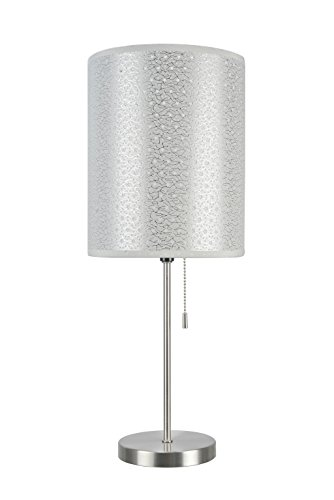 Aspen Creative 40083-8, 1-Pack Set-1 Light Candlestick Table Lamp, Contemporary Design in Satin Nickel, 19 1/2