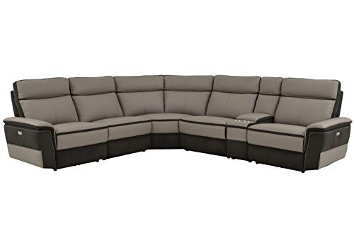 Liberman 6PC Power Sectional w Non Power Armless Recliner - Top Grain Leather & Fabric - Grey - ConfigC (Motion Armless Recliner)
