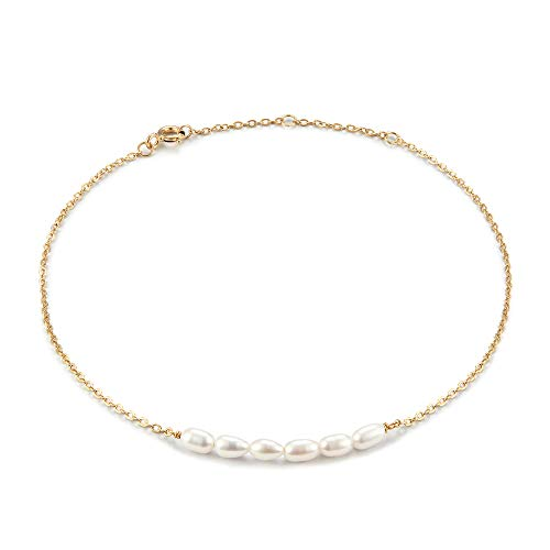 925 Sterling Silver Pearl Anklet,Freshwater Pearl Anklets for Women,14K Gold Plated Adjustable Charm Pearl Ankle Bracelet