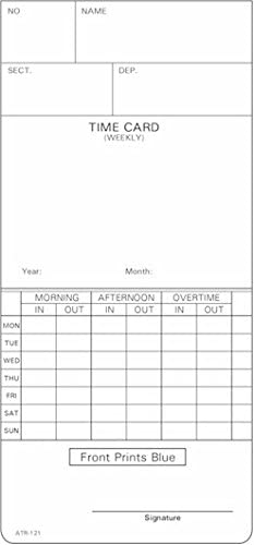 6 mm FORM AMA5503BX Monthly TCS 1000 ct 3-3//8 Time Cards
