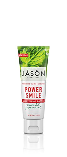 JASON Powersmile Whitening Fluoride-Free Travel Size Toothpaste, Powerful Peppermint, 3 oz. (Packaging May Vary)