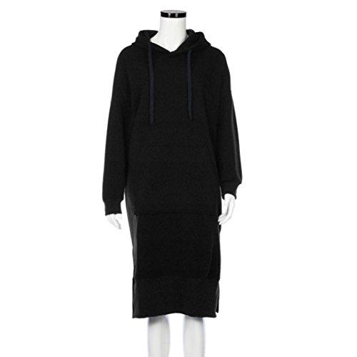 Women Blouse, Neartime Women Casual Hood Sweatshirt Hooded Ladies Long Pullover Tops (L2, Black) by NEARTIME (Image #1)