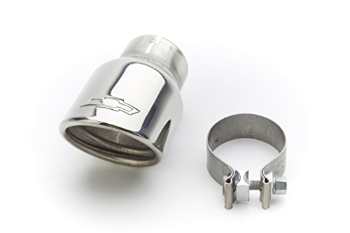 GM Accessories 23238759 3.6L Polished Stainless Steel Dual-Wall Angle-Cut Exhaust Tip with Bowtie Logo