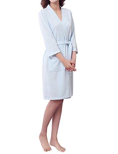 Sue & Joe - Albornoz / bata de punto gofrado corto para mujer con manga de 3/4y cinturón azul claro