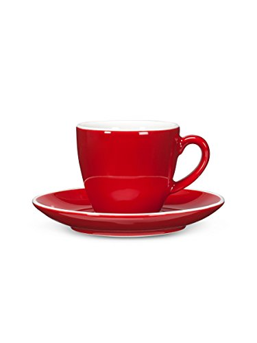 Set 6 Retro Red 3oz Porcelain Diner Demitasse Coffee Espresso Cups & Saucers
