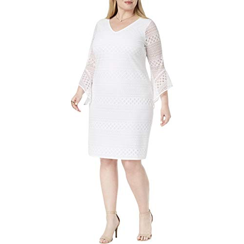 White Occasion Dresses (Alfani Womens Plus Lace Sheer Special Occasion Dress White)