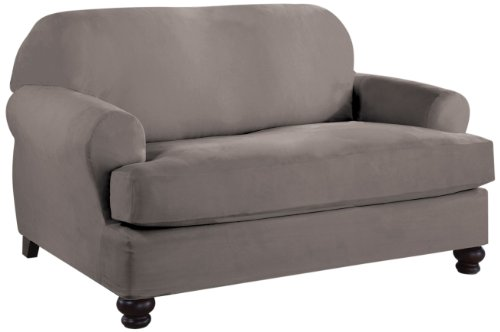 Tailor Fit Stretch Fit Micro Suede 2-Piece Slipcover - Slipcovers T Cushion Loveseat