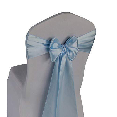 Light Blue Satin Chair Sashes Ties - 50 pcs Wedding Banquet Party Event Decoration Chair Bows (Light Blue, 50) ()