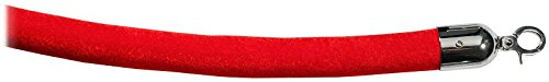 Visiontron 840RD96HE-PS1 8ft PRIME Velvet Red Rope, Hinged Snap Ends Polished Stainless Steel