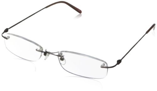 Private Eyes Mens Tasker Rectangular Reading Glasses Shiny Dark Brown 1 75