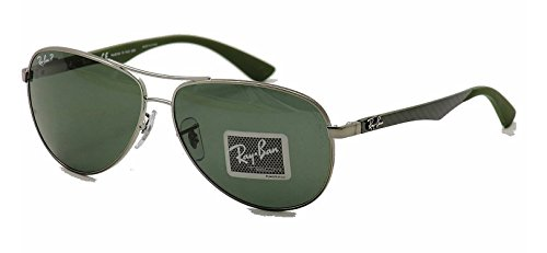 Gunmetal Frame Grey Polarized Lens (Ray-Ban Sunglasses - RB8313 Carbon Fibre / Frame: Gunmetal Lens: Polarized Grey (61mm))