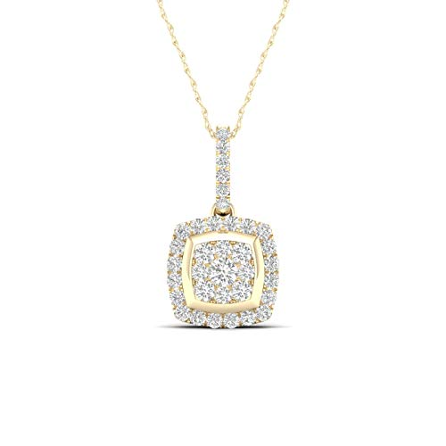 - 10K Yellow Gold Diamond Cluster Pendant Necklace 18inch(0.25 ct / I2,H-I)