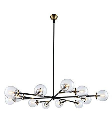Elegant Lighting 1507G58BB Leda - Twelve Light Adjustable Chandelier, Burnished Brass/Flat Black Finish with Clear Glass (10' Brass Polished Glass)