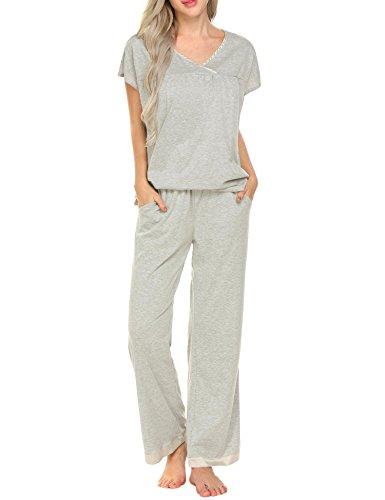 - Ekouaer Sleep Set Women's Cotton Knit Loungewear Short Sleeve Sleep Top With Long Pants, Flower Grey, Small