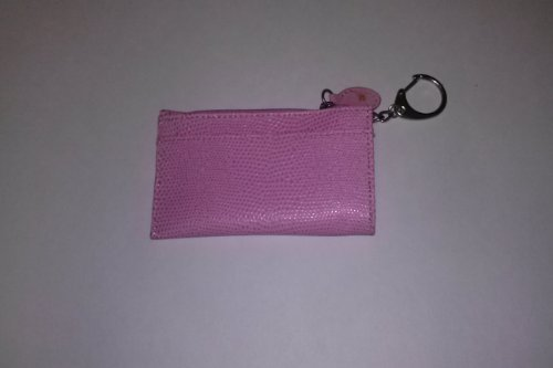 Madison Signatures Pink Lizard Print Change Purse Key Ring Card Holder 2 3/4