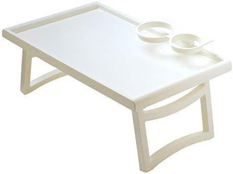 Plastia Table de Service Table de lit Table de lit pour lit Entretien Table pour Ordinateur Portable Weiss Standard