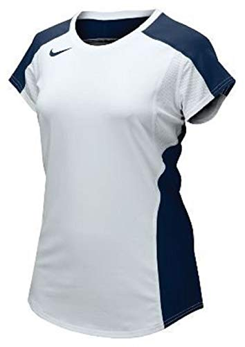 Nike 20/20 Women's Cap Medium Short Sleeve T-Shirt Jersey (Large, White/Navy)