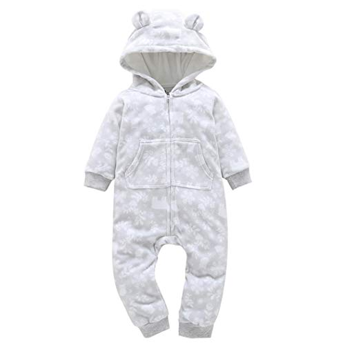 HTHJSCO Baby Boys Girls Rompers Thicker Print Fleece Jumpsuit Hooded Pocket Bobysuit Pajamas Clothes (White, 18M) by HTHJSCO