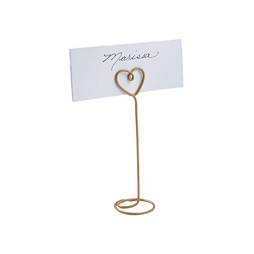 Gold Wire Heart (Fun Express - Gold Heart Wire Place Card Holders (dz) for Wedding - Party Supplies - Favors - Placecards And Holders - Wedding - 12 Pieces)