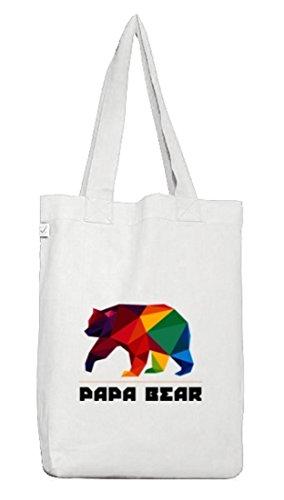 ShirtStreet Geschenkidee Jutebeutel Stoffbeutel Earth Positive mit Polygon Papa Bear Motiv White 0cuCCb2