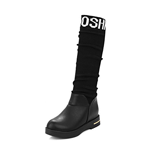 Amoonyfashion Kvinners Runde Tå Midt Oppå Kattunge Hæler Diverse Fargeblandingsmaterialer Boots Black