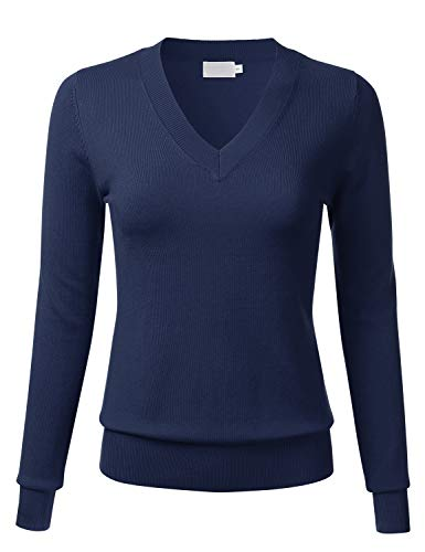 FLORIA Women's Soft Basic Thick V-Neck Pullover Long Sleeve Knit Sweater Navy M