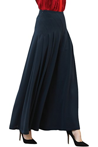 VOA Women's Heavy Silk Navy Blue Slant Pocket Wide-Leg Slacks K395 (Silk Slacks)