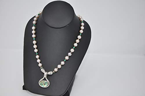 Hand Beaded Single Strand Necklace with very soft pink Freshwater Pearls, Malachite Beads and Avalon Silver Pendant only by TreAssure Design ()