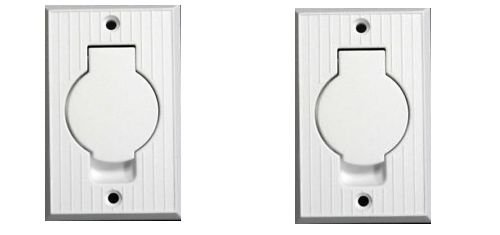 (2) Central Vacuum White Inlet Valves for Beam Central Vac – White Round Door""