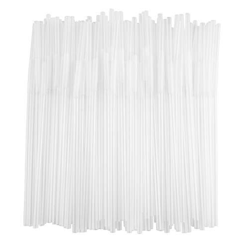 ALINK Flexible Clear Plastic Extendable Drinking Straws, Extra Long Disposable Bendy Party Fancy Straws, Pack of 200